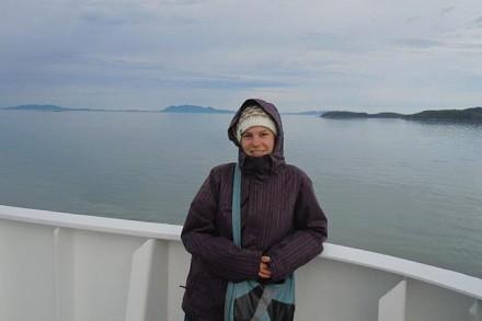 Nadja Stampfli auf der Überfahrt von Prince Rupert nach Port Hardy