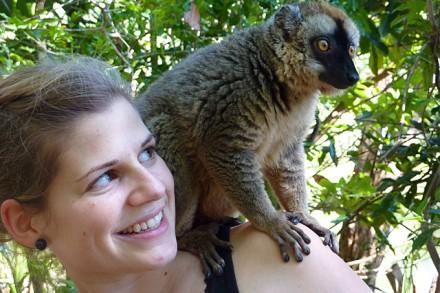 die Lemuren turnen auf uns wie auf Bäumen