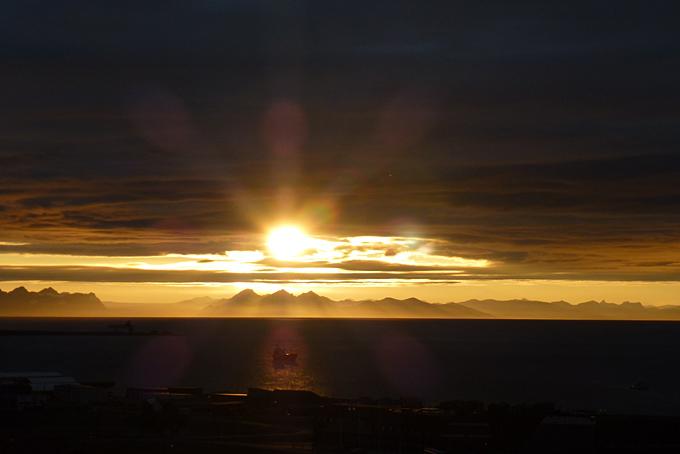 Sonnenuntergang in Longyearbyen