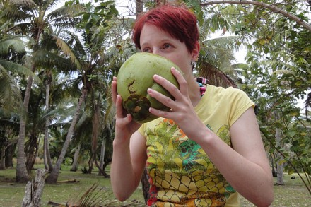 Erfrischend so eine Kokosnuss