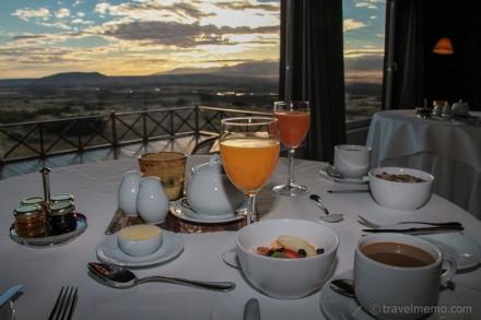 Frühstück mit Aussicht auf die Steppe Patagoniens