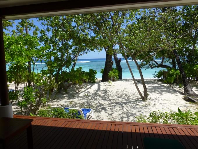 Blick vom Bungalow zum Strand