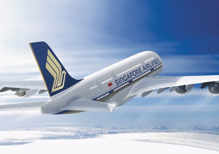 En A380 Singapore Airlines à destination de Bali