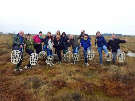 Unsere Gruppe im Store Mosse Nationalpark auf Schneeschuhwanderung