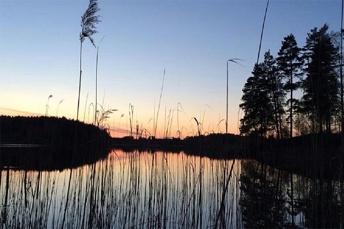 Abendstimmung am See beim Camping in Malmköping