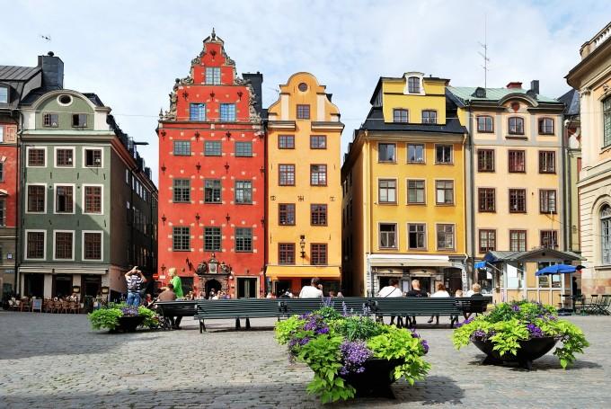 Häuserfassade in der Gamla Stan, der Altstadt von Stockholm
