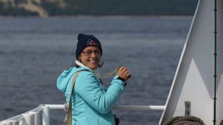 Regula Viridén auf dem Whalewatching Boat