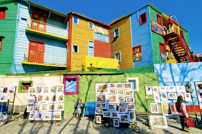 Die farbigen Häuser in La Boca