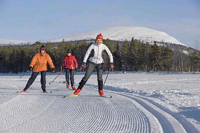Eine Loipe für Langläufer in Lappland