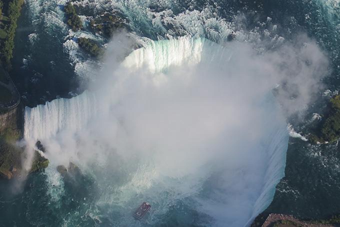 Die Horseshoe Falls vom Helikopter aus