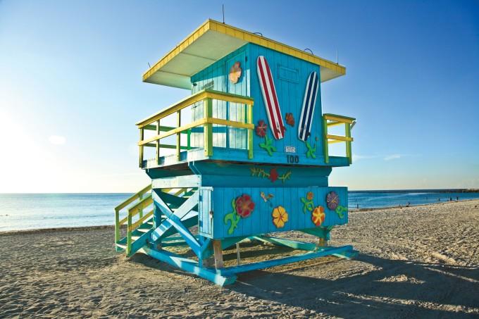 Eeine Lifeguard Hütte in Miami Beach (Photo Credit: Greater Miami Visitors & Convention Bureau)