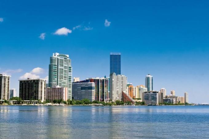 Die schöne Skyline von Miami