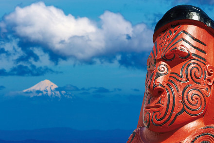 Typische Maori Schnitzerei in Neuseeland