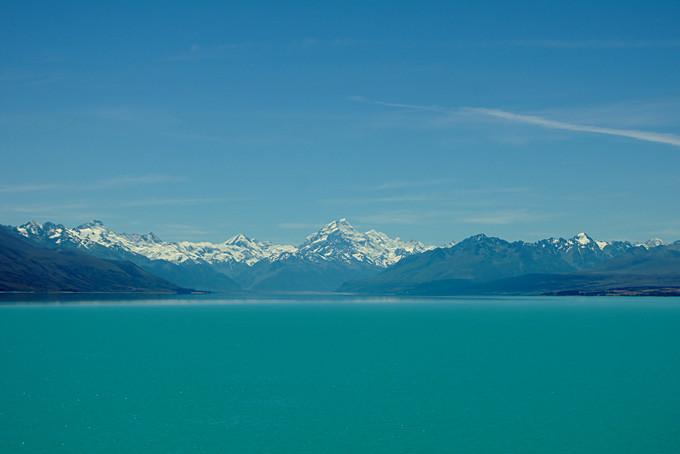 Sicht vom Lake Tekapo auf den Mount Cook