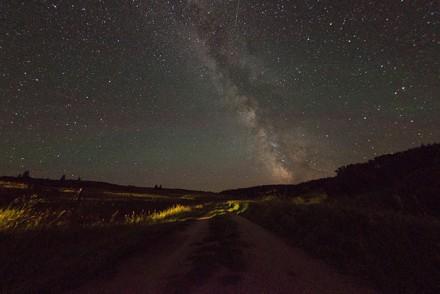 Sternenhimmel über der La Reata Ranch in Saskatchewan, Kanada