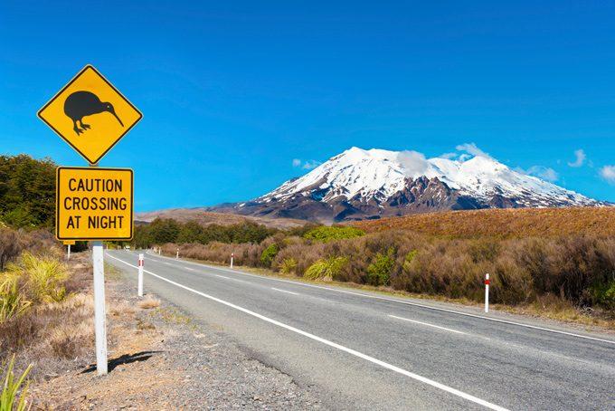 Strassenschild, Tongariro National Park