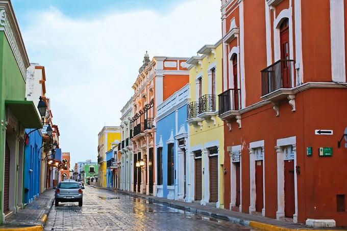 Farbige Häuser in Campeche