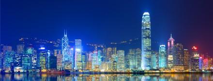 Lichtshow von Hongkong Island